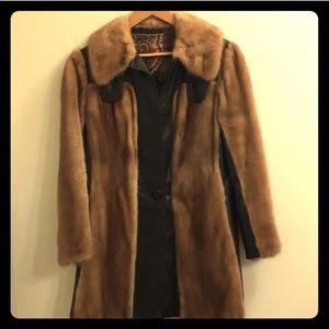 Jackets & Blazers - Vintage Genuine Mink Fur and Leather Fur Coat